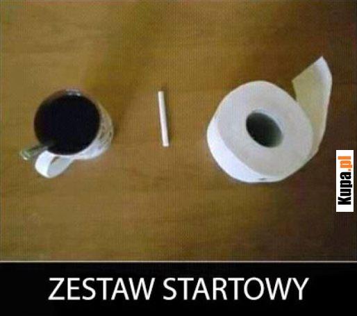 Zestaw startowy: Kawka, papierosek, srajtaśma :)