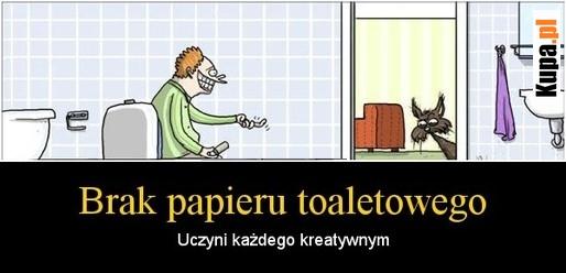 Brak papieru toaletowego, uczyni każdego kreatywnym